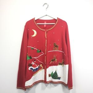Ugly Christmas Sweater XL Red Gold Santa Sleigh